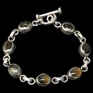 Vintage Sterling Silver Blue/Yellow Tiger Eye Bracelet