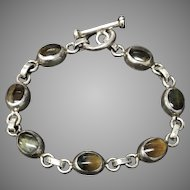 Vintage Sterling Silver Blue/Yellow Tiger Eye Bracelet