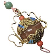 Vintage Gilt Enamel Silver Large Chinese Agate Jade Coral Beads Pendant