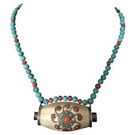 Vintage Silver Turquoise Coral and Bone Necklace