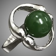 Vintage Sterling Silver Green Nephrite Jade Ring Size7