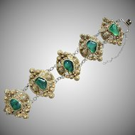 Magnificent Vintage Chinese Gilt Filigree Silver Green Translucent Carnelian Bracelet with Safety Chain