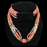 Vintage Angel Skin Coral and Freshwater Seed Pearls 5 Strand with Oval Coral Cabochon Clasp Necklace 25.5""