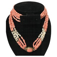 """Vintage Angel Skin Coral and Freshwater Seed Pearls 5 Strand with Oval Coral Cabochon Clasp Necklace 25.5"""""""