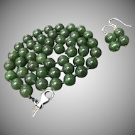 "Vintage Chinese Natural Spinach Green Nephrite Jade Hand-knotted 18.5"" Necklace with Earrings Set"