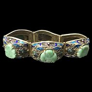 Vintage Chinese Gilt Filigree Sterling Silver Enameled Jade/Jadeite Bracelet with Safety Chain