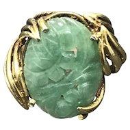 Vintage Large Handmade Gilt Sterling Silver Chinese Carved Jade/Jadeite Ring Size 6