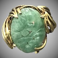 Vintage Large Handmade Gilt Sterling Silver Chinese Carved Jade/Jadeite Ring Size 6