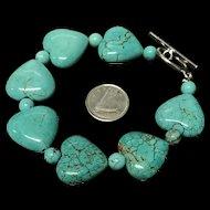 Beautiful Heart Shape Turquoise Beaded Bracelet