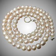 Beautiful Peach/Creamy Color Cultured Freshwater Pearls with Sterling Silver Clasp Necklace 17 Inches