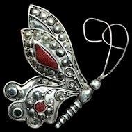 Vintage Sterling Silver with Red Apple Coral Butterfly Pin Brooch