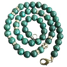 Vintage Nature Malachite Beaded Necklace 17.5 Inches
