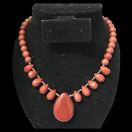 Nature Red Stone Beaded Necklace 18.5 Inches Sterling Silver Clasp