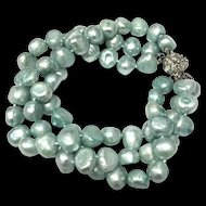 Beautiful Three Strands Cultured Freshwater Blue Pearls Bangle Bracelet