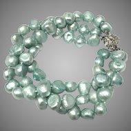 Beautiful Three Strands Cultured Freshwater Blue Pearls Bangle Bracelet
