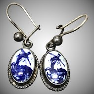 Vintage Sterling Silver Blue and White Porcelain Earrings