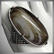 Large Vintage Sterling Silver Banded Agate Ring Size 8.75