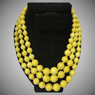 Beautiful Three Strands Graduated Lemon Yellow Glass Beaded Adjustable Necklace