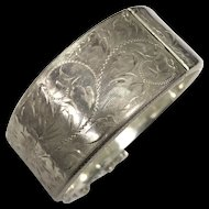 Vintage Hand Engraved Sterling Silver Hinged Bangle Bracelet Signed