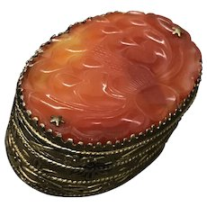 Antique Chinese Gild Large Hand Carved Red Carnelian Pill/Snuff Box