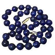 Vintage Natural Imperial Blue Lapis Lazuli Beaded Necklace 18.5 inches