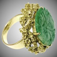 Vintage 14K Yellow Gold Nuggets Chinese Hand Carved Green Jade Jadeite Ring Size 6