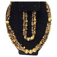 Unique Natural Tiger Eye Gemstone Multi Strands Beaded Adjustable Necklace and Bracelet Set