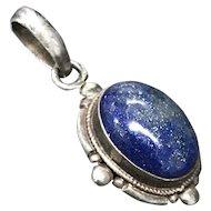 Vintage Natural Lapis Lazuli Sterling Silver Pendant