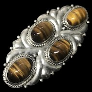 Vintage Sterling Silver with Natural Tiger Eye Gemstones Pin Brooch