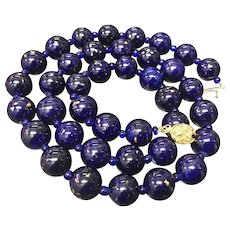 """Vintage Chinese Export Cobalt Blue with Gold Spots Porcelain Beaded Necklace Gild Silver Filigree Clasp 25.5"""""""