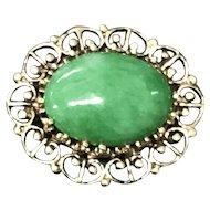 Victorian 14K Gold Apple Green Jade Jadeite Pin Brooch