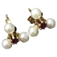 Beautiful 14K Gold Culture Peals with Ruby Earrings