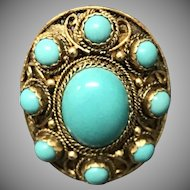 Vintage Large Chinese Export Gilt Filigree Sterling Silver Natural Turquoise Adjustable Ring