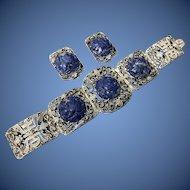 Antique Chinese Enamel Filigree Sterling Silver Hand Carved Lapis Lazuli Floral Bracelet and Dress Clips Set in Original Box