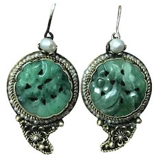Antique Chinese Gilt Filigree Sterling Silver Hand Carved Jade/Jadeite with Real Seed Pearls Earrings 1920's
