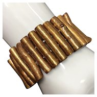 30mm Double-Drilled Golden Coral Sticks Stretch Bracelet