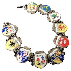 Germany Sterling Silver Enamel Tourist Travel Bracelet ~ 10 Cities Badges