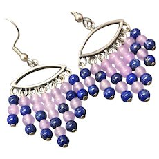 Vintage Lavender Jade Lapis Lazuli Sterling Silver Earring