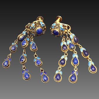 Vintage Chinese Gild Sterling Silver Filigree Enamel Lapis Lazuli Earrings