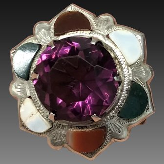 Victorian Scottish Sterling Silver and Agate Pin Brooch