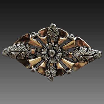 Victorian Rose Cut Diamond Brooch Pin in 14k Rose Gold