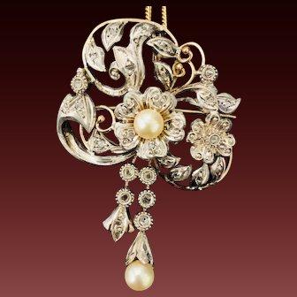Victorian Rose Cut Diamond Culture Pearl Brooch Pin Pendant in 14k Gold