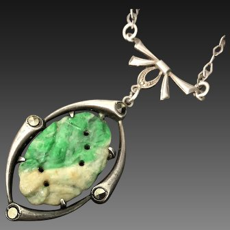 Antique Chinese Hand Carved Green Jade Jadeite with Sterling Silver Marcasite Necklace