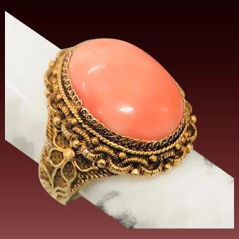 Vintage Chinese Export Gilt Filigree Sterling Silver Angel Skin Coral Adjustable Ring