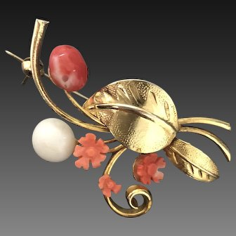 Vintage Carved Coral Flowers with Gold Plated Leaves Brooch