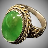 Vintage Chinese Export Filigree Sterling Silver Transparent Green Jade Jadeite Adjustable Ring