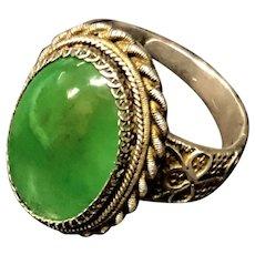 Vintage Chinese Export Filigree Sterling Silver Transparent Green Jade Jadeite Adjustable Ring