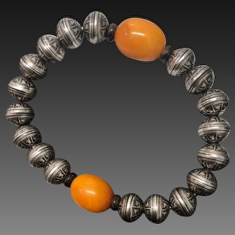 Egg Yolk Butterscotch Genuine Amber Beads with Sterling Silver Beaded Stretch Bracelet