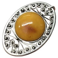 Vintage Egg Yolk Butterscotch Genuine Amber with 800 Silver Pendant