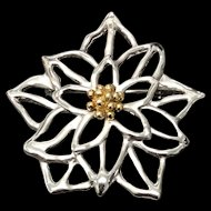 BAB 18K Gold with Sterling Silver Flower Pin Brooch